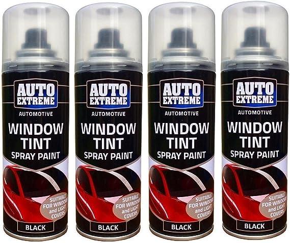 4 x Automotive ventana coche vidrio cubierta de la luz de tinte negro pintura en spray, 200 ml spray