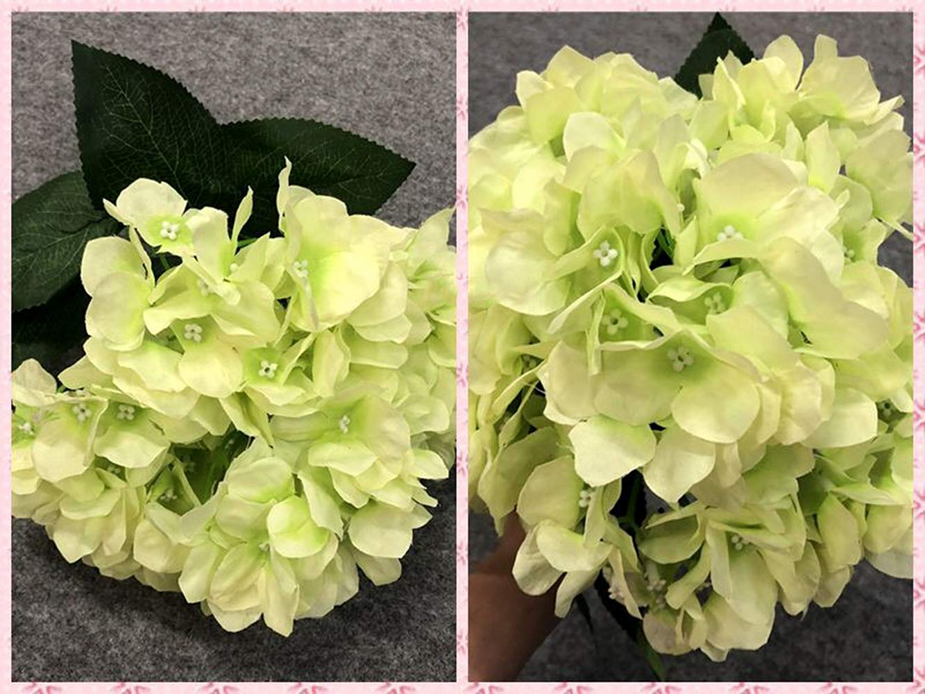 Homyu Artificial Hydrangea Flowers 5 Big Heads Bouquet Beautiful Flowers for Office Home Party Decoration Champagne