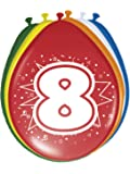 Folat Bunte Luftballons mit Zahlen 8er Pack 8