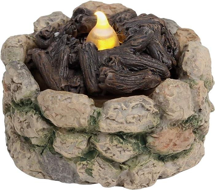 TG,LLC Miniature Stone LED Light-Up Firepit Fairy Garden Decor Dollhouse Accessory