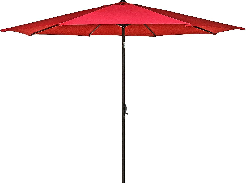 HERMO 108 Roun 10 Ft Outdoor Patio 8 Ribs Market Table Umbrella, red
