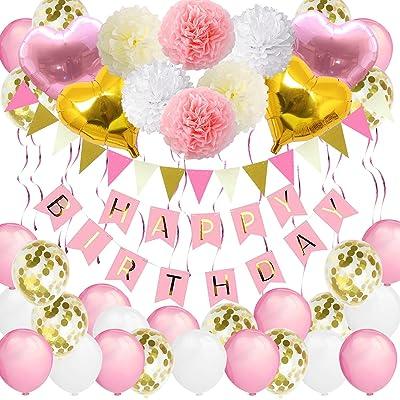 Bandera de cumpleaños para niñas, VSTON Happy Birthday Globos Rosa Fiesta Blanca Decoracion para niños Mujeres Adultos con Forma de corazón Pompones Flores Globos de Tejido Guirnalda, 42 Paquetes: Juguetes y juegos