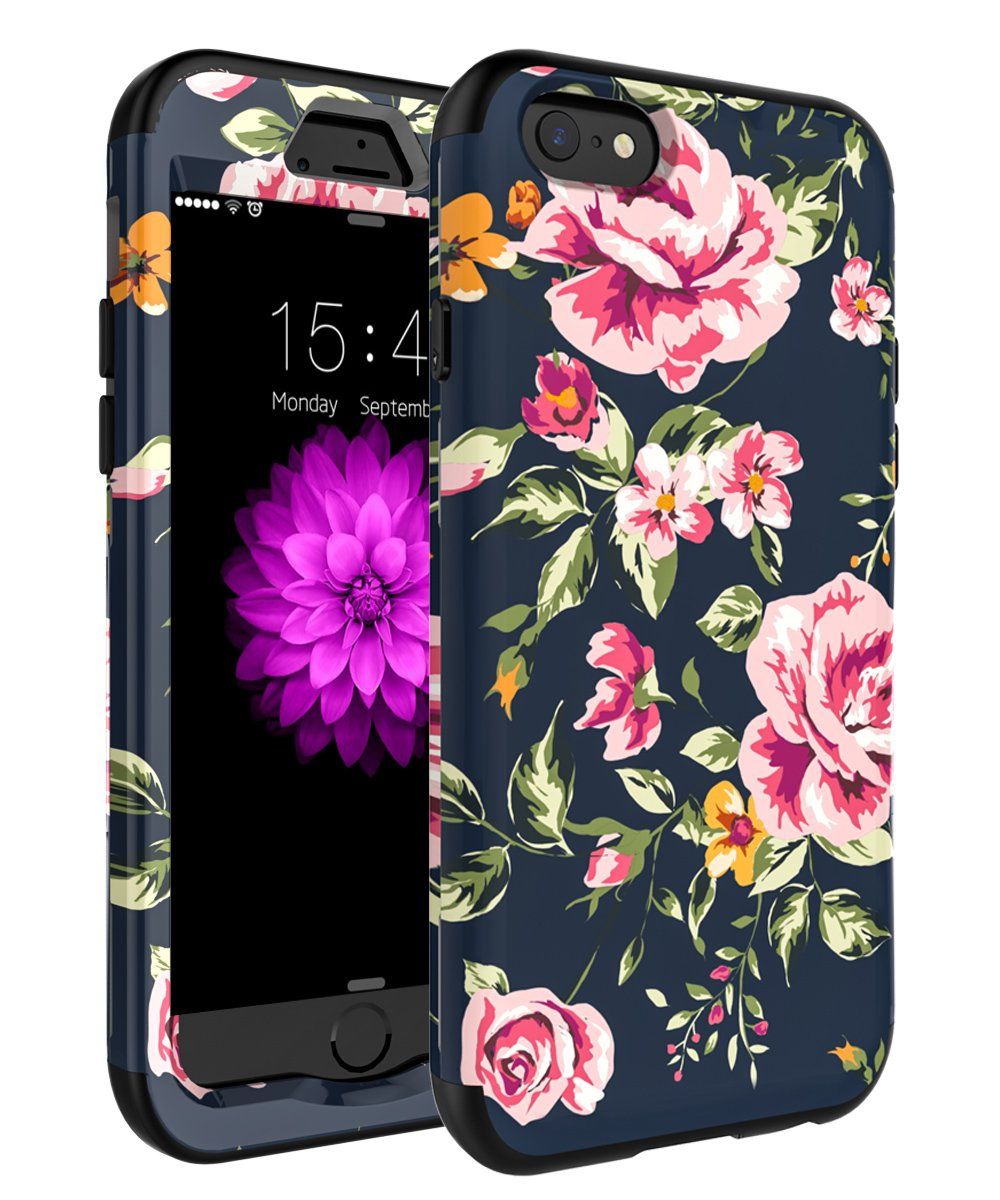 iPhone 7 Case,iPhone 8 Case,SKYLMW Three Layer Heavy Duty High Impact Resistant Hybrid Protective Cover Case For iPhone 7/8 (Only For 4.7'') Pink Flower/Black