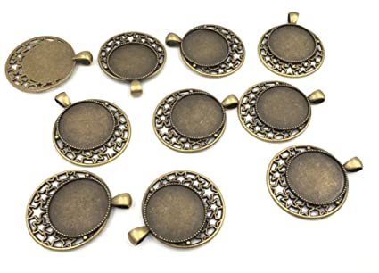Amazon Pack Of 10 Round Picture Frame Charm Pendants Trays 25mm
