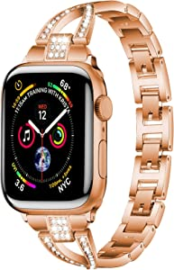PEIYUI Stainless Steel Metal Band for Apple Watch 38mm 40mm, Women Men Strap Replacement Link Bracelet Band Compatible with Apple Watch Series 6 & 5 & SE iWatch Series 4/3/2/1 (Rose gold, 38mm-40mm)