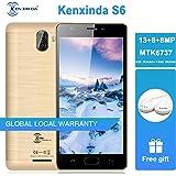 KEN S6 Unlocked Smartphone 4G, Android 7.0 Dual SIM Free Mobile Phone (5'' HD Screen, Quad Core, 2GB + 16GB Memory Cellphone, 13+8+8MP Dual Camera, 3500mAh Cell Phones Fingerprint Unlock) Gold