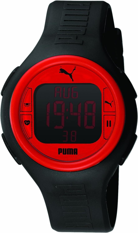 Puma PU910541002 Montre Mixte Quartz Digital Cadran Rouge Bracelet Caoutchouc Noir