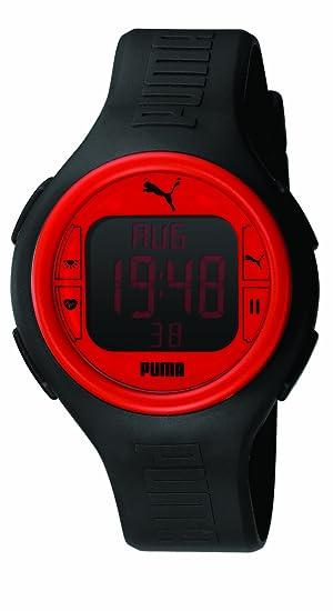 Puma PU910541002 - Reloj digital de caballero de cuarzo con correa de plástico negra (cronómetro