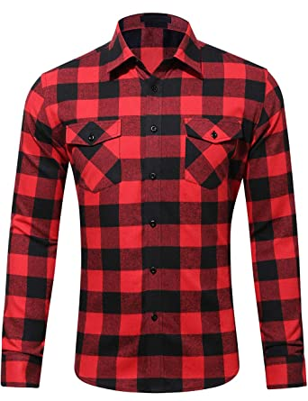 b5f4cb0559b6 DOKKIA Men's Dress Button Down Buffalo Plaid Checked Long Sleeve Flannel  Shirts (Black Red Buffalo