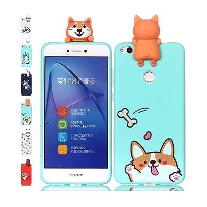 Funda Huawei P8 Lite 2017 Corgi Verde Claro Transparente Squishy Kawaii Juguete Toy Animal Silicona TPU Clear Transparente Gel Bumper Shell Back Cover ...