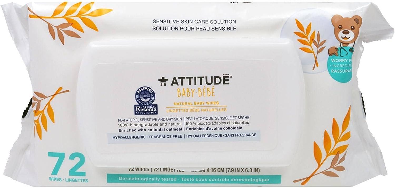 ATTITUDE - Toallitas Naturales para Bebés - Con Avena Coloidal - Hipoalergénico, Perfecto para Pieles Extremadamente Sensibles o Atópicas - Certificado NEA - Vegano - 72 unidades: Amazon.es: Belleza