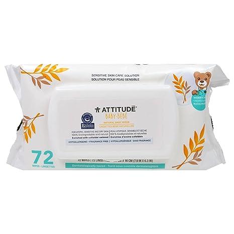 ATTITUDE - Toallitas Naturales para Bebés - Con Avena Coloidal - Hipoalergénico, Perfecto para Pieles