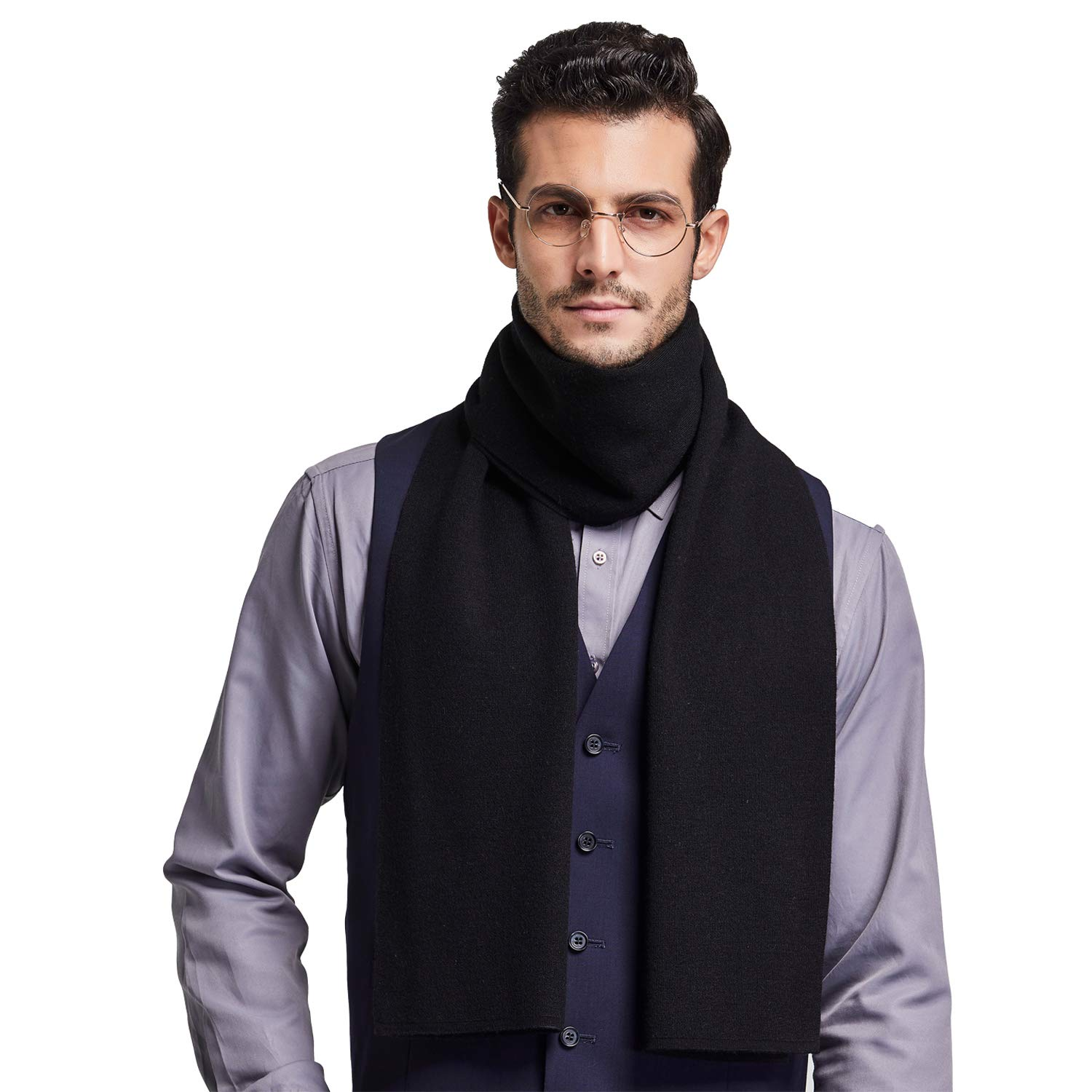 Taylormia Mens Merino Wool Scarf Winter Warm Soft Cashmere Feel Knit Scarves