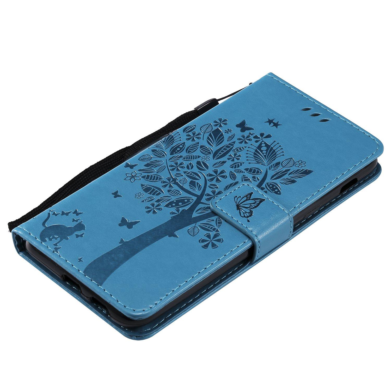 HopMore Funda Samsung Galaxy A6 2018 Interior Silicona Cuero con Tapa 360 Protecci/ón Billetera Motif Bonita Resistente Antigolpes Carcasa Samsung A6 Ranuras Tarjetas Case Cover P/úrpura