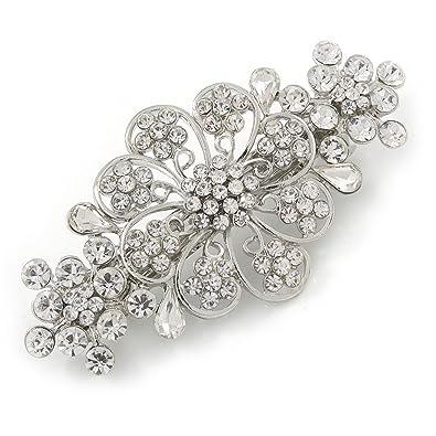 Avalaya Medium Rose Gold Tone Filigree Diamante Floral Barrette Hair Clip Grip - 70mm Across hmmtg