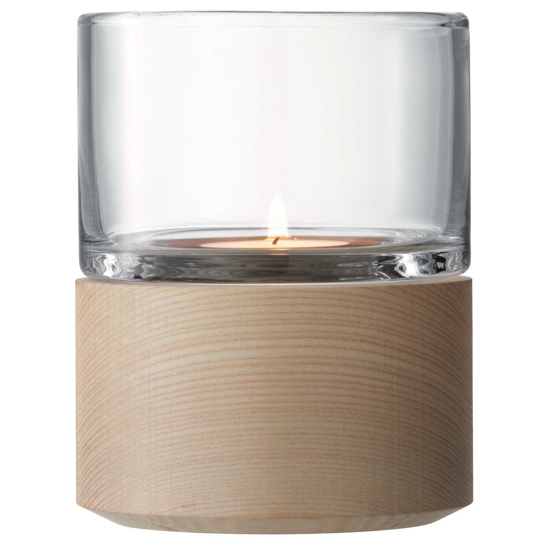 LSA International Lanterne Lotta et Base en frê ne, Transparent, Claire, 13 cm G991-13-301