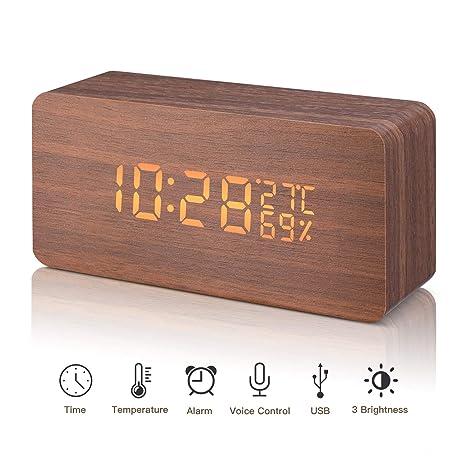 LED Reloj Despertador Digital de Madera Relojes USB 3 Niveles Brillo Ajustable Voz Touch Activado Mostrar Hora Fecha Semana Humedad Temperatura para ...