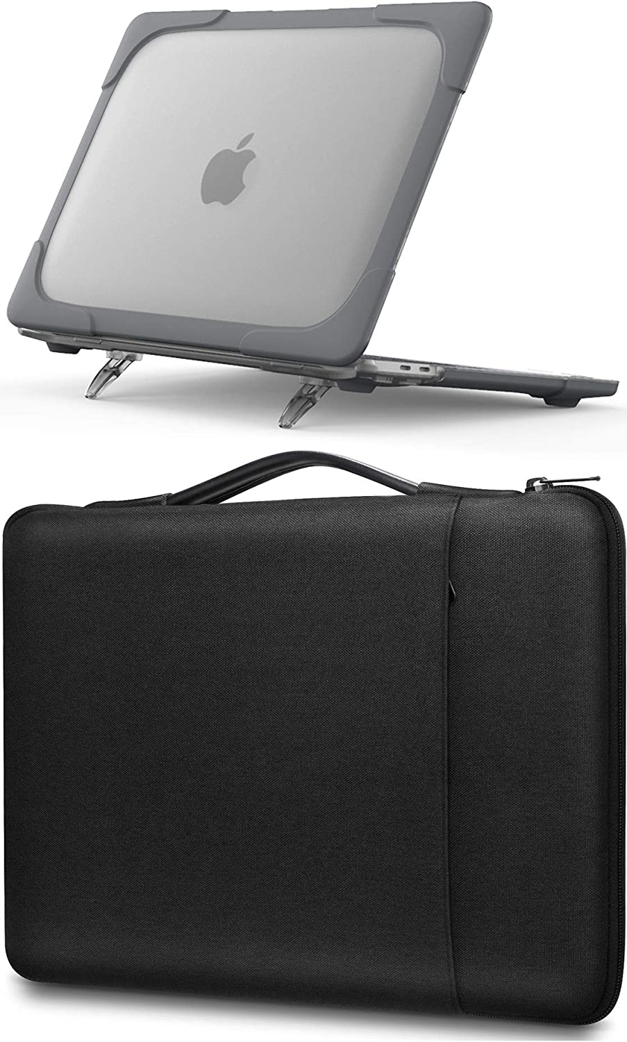 ProCase MacBook Pro 13 Inch Grey Hard Shell Case (M1 A2338/ A2289/ A2251) + Black Sleeve Bag, Compatible with 2020 Released MacBook Pro New 13-inch Model M1 A2338/ A2289/ A2251 -Grey+ Black