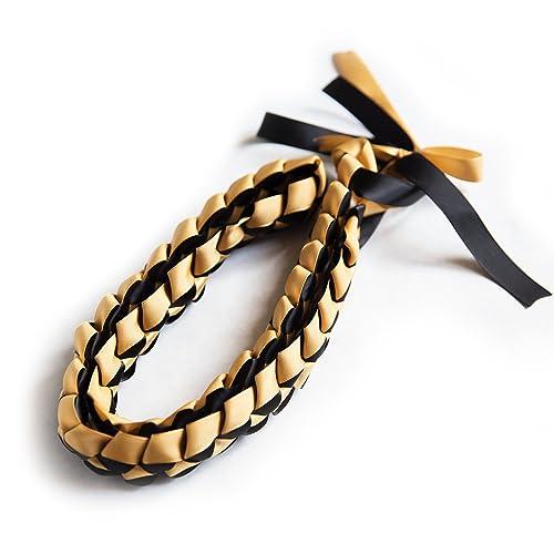 amazon com ribbon lei braided necklace black gold handmade