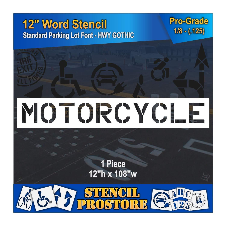 Pavement Marking Stencils - 12 inch Motorcycle Stencil - 12'' x 108'' x 1/8'' (128 mil) - Pro-Grade