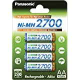 Panasonic BK-3HGAE/4BE panasonic Haute capacité 2500mAh Lot de 4 piles AA/Mignon/LR6 prêtes à utiliser