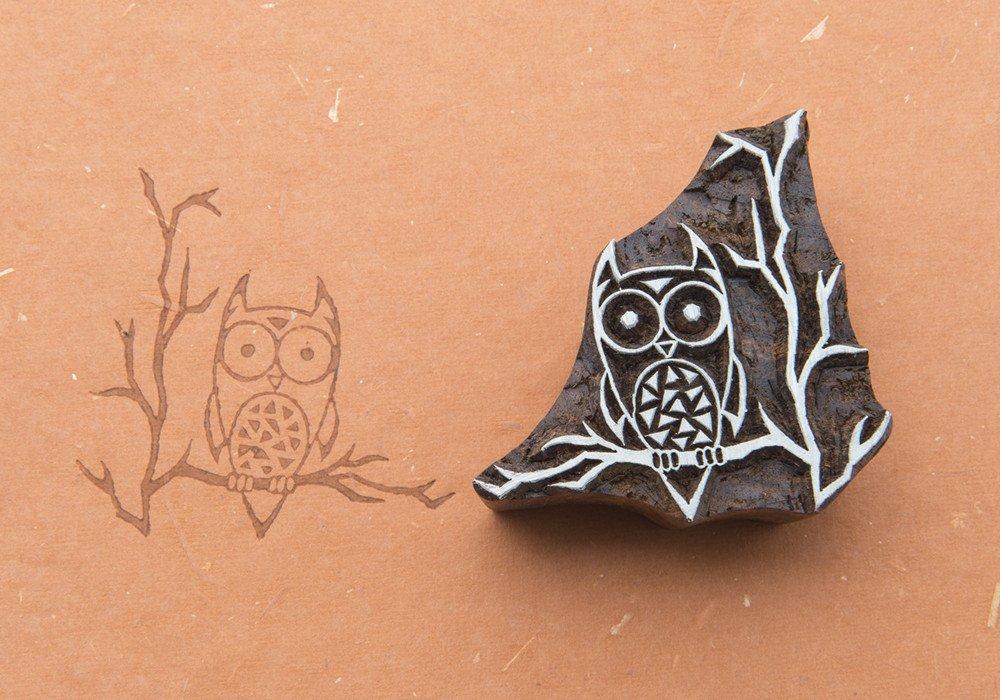 Blockwallah Owl in the Woods Wooden Block Stamp