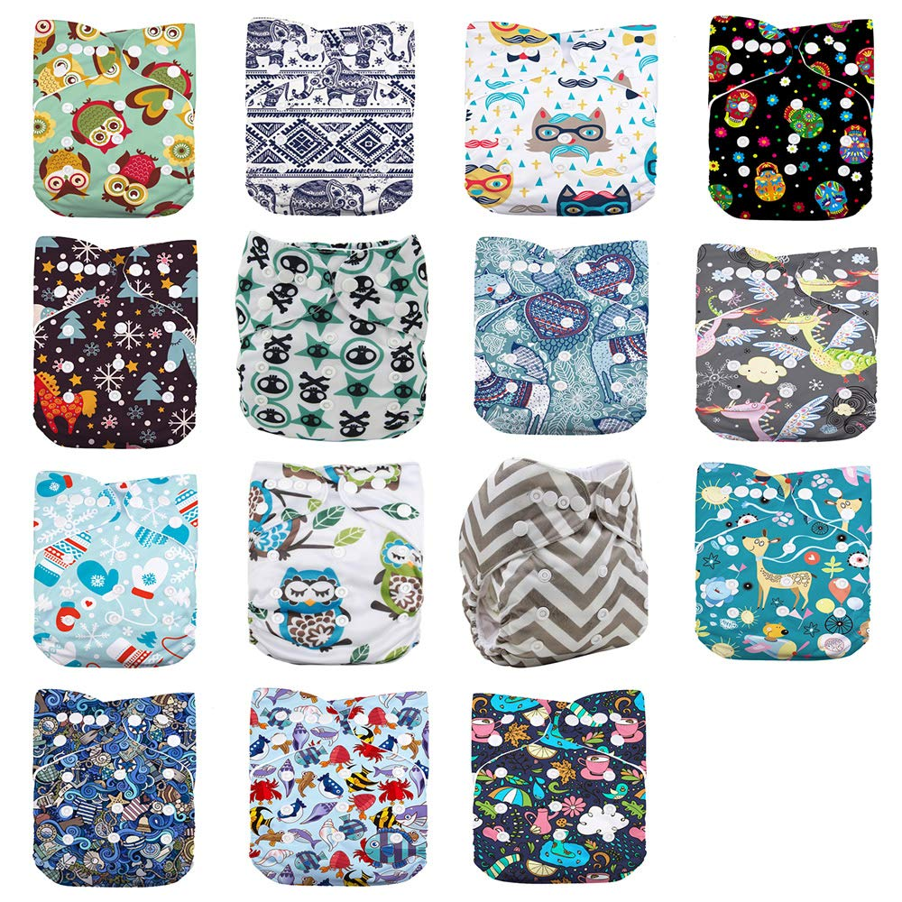 color4 WO-WA Baby 15pcs Diapers+15pcs Charcoal Bamboo Inserts+One Wet Bag,Cloth Diapers,One Size Adjustable Reusable Pocket Cloth Diaper,