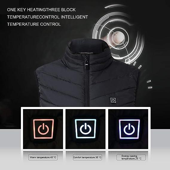 Invernale Sicurezza Giacca Riscaldato Elettrico USB Uomo Donna Giacca Cappotto Riscaldante Nero per Moto Viaggiare Sci Escursionismo KKmoon Gilet Caldo da Moto XL