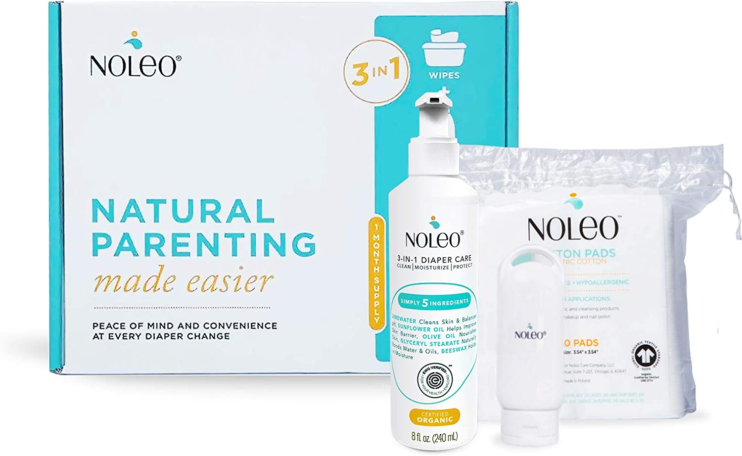 3 in 1 Certified Organic and EWG Verified Diaper Care, Baby Care Skin Cleanser, Rash Cream, Moisturizing Lotion - NOLEO (Baby Box): Health & Personal Care