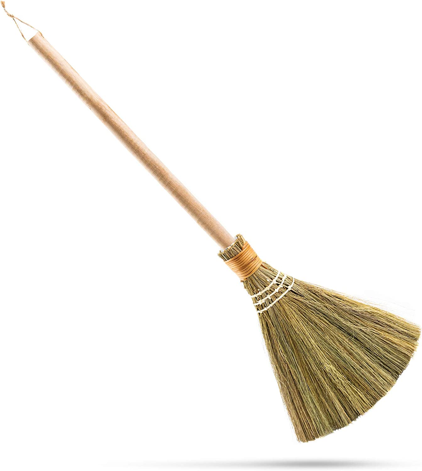 """Natural Whisk Sweeping Hand Handle Broom - Vietnamese Straw Soft Broom for Cleaning Dustpan Indoor - Outdoor - Decorative Brooms - Wooden Handle - 9.84'' Width, 27.55"""" Length"""