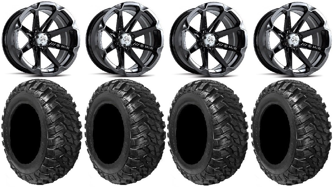 Bundle - 9 Items: MSA Black Diesel 15'' ATV Wheels 30'' Kanati Mongrel Tires [4x156 Bolt Pattern 12mmx1.5 Lug Kit] by Powersports Bundle (Image #4)