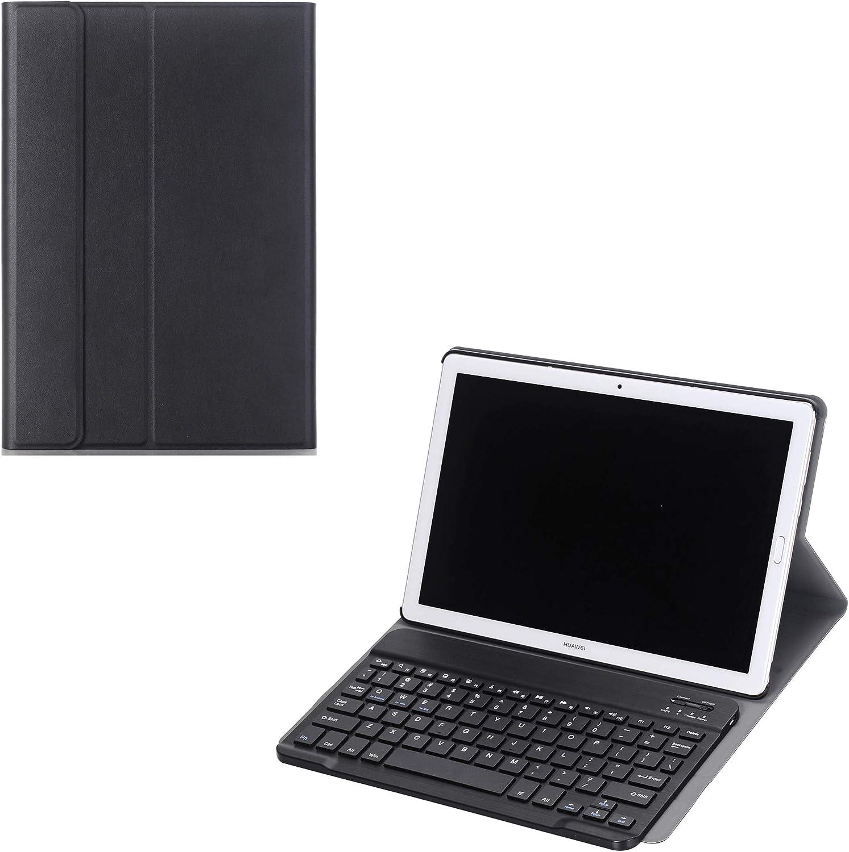 J&H Huawei MediaPad T3 10 (9.6) Funda de teclado Folio Funda, Huawei MediaPad T3 10 (9.6) Funda de piel sintética teclado inalámbrico Bluetooth ...