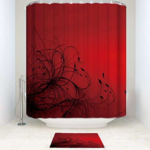 Amazon Com Sun Shine Red Black Abstract Wallpaper Shower Curtain Sets With Mats Rugs Bathroom Accessories Home Kitchen