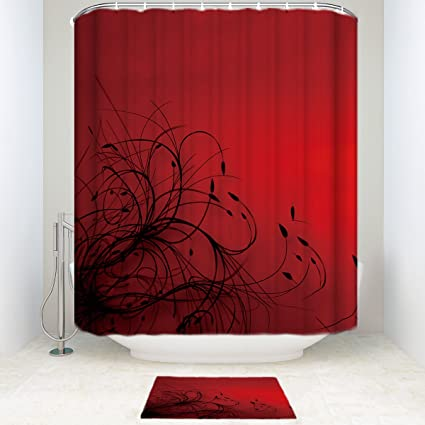 Amazon SUN Shine Red Black Abstract Wallpaper Bathroom Shower Curtain Sets With Mats Rugs And Accessory Home Kitchen