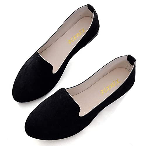 Slduv7 Women Pointed Comfortable Flat Ballet Shoes Black 42(9) best women's dressy flats