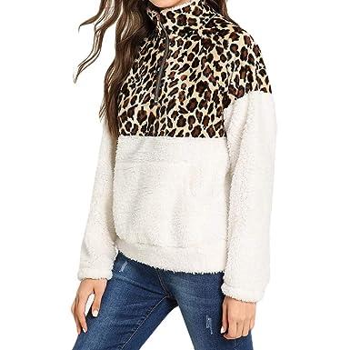 2bdfa53d867503 GzxtLTX Women Sweater Sherpa Fleece Pullover Leopard Printed ...