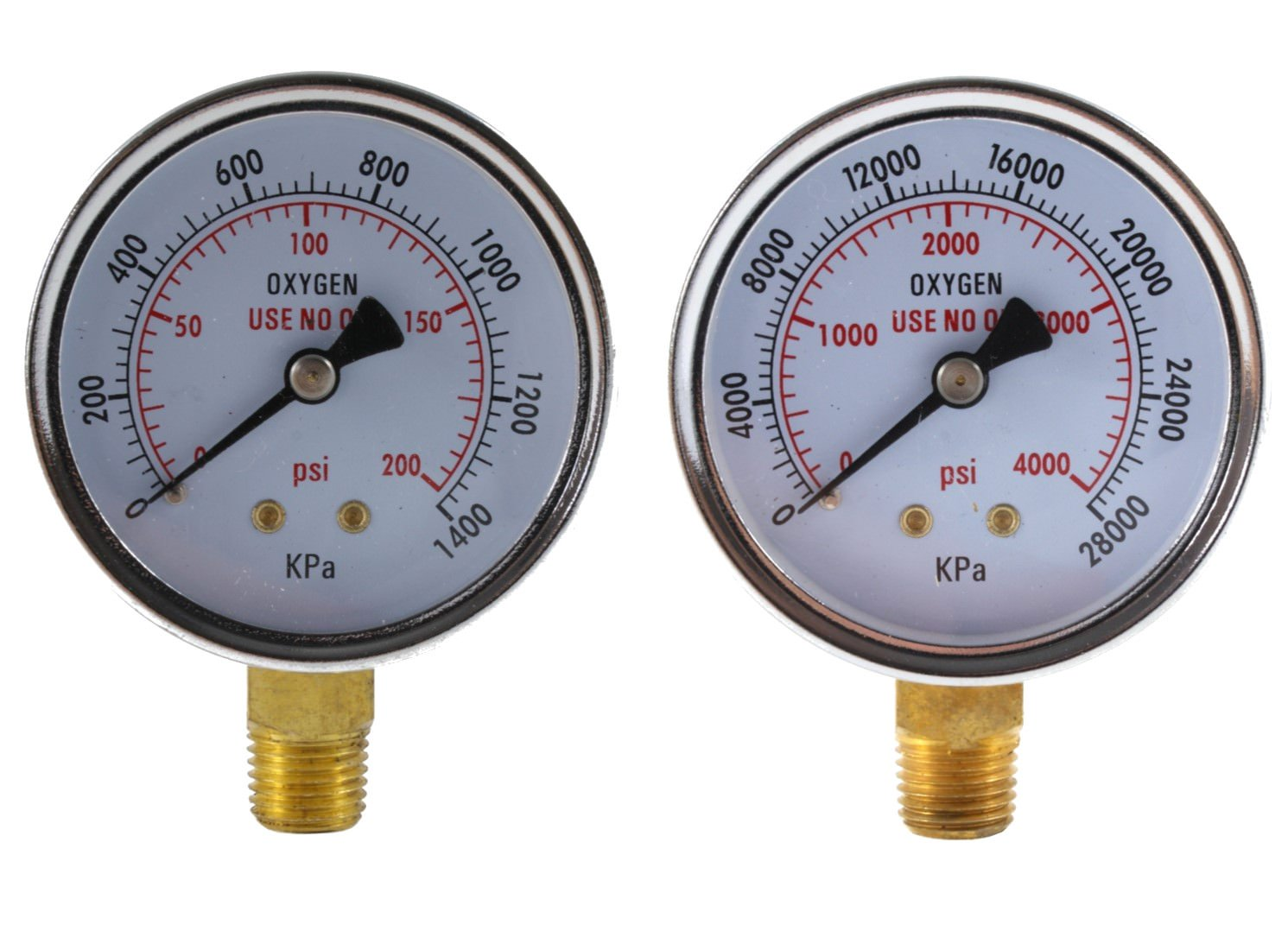 Low and High Pressure Gauges for Oxygen Regulator - 2 inches (PAIR) NUT