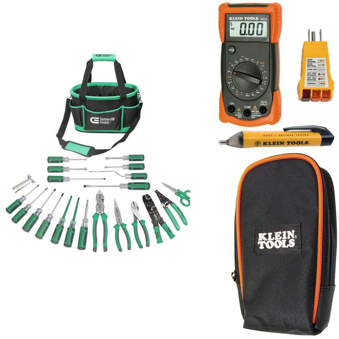 Commercial Electric 22 Piece Tool Electrician Set Tools Pliers Kit Wire ET07001 bundle with Electrical Test Kit with 3-1/2 in. Multimeter Carrying Case