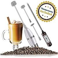 Elektrischer Milchaufschäumer mit Drei Quirl und Koch-Thermometer für Kaffee/Latte / Cappuccino/Chocolate, Batteriebetrieb, Extra Starker Motor mit 19000 U/min