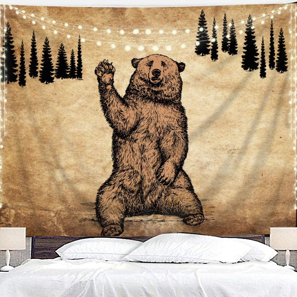 Homewelle Brown Bear Tapestry 59Wx78L Inch Rustic Cabin Wildlife Design Nature Animal Country Lodge Forest Pine Trees Hanging Bedroom Living Room Dorm Decor Fabric