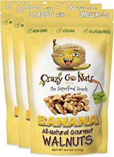 product image for Crazy Go Nuts Walnuts - Banana, 4.5 oz (3-Pack) - Healthy Snacks, Vegan, Gluten Free, Superfood - Natural, Non-GMO, ALA, Omega 3 Fatty Acids, Good Fats, and Antioxidants