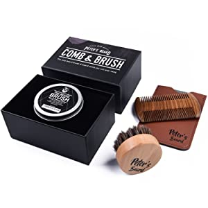 Premium Beard Brush & Comb Set - Ecological & Ergonomic Anti Static Natural Sandalwood Comb and Natural Soft Horse Hair Bristle Brush - Perfect for Beard Balms & Oils - Comes in Gift Box with PU Leather Comb Case - Great for Softening and Conditioning Itchy Beard - 2 Years Warranty