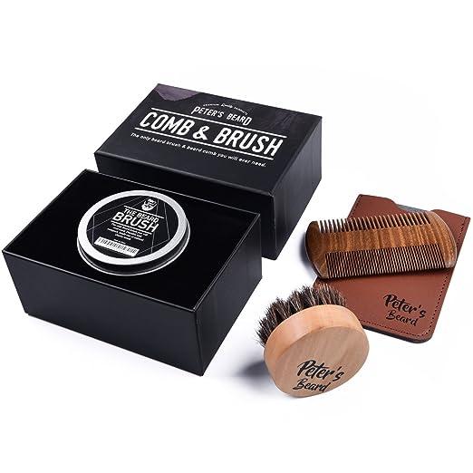 3 opinioni per Set di Spazzola da Barba Premium e Pettine in Legno di Barba- 2 PACK- Set