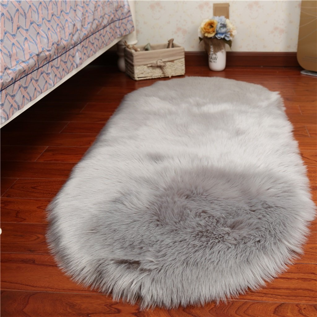 Rugs Carpets Rug Carpet Faux Sheepskin Carpet Fluffy Shaggy Rug Decorative Sofa Cushion 5-6cm Long Pile Carpet for Living Room Bedroom Floating Window Pad ( Color : Gray , Size : 80150cm )
