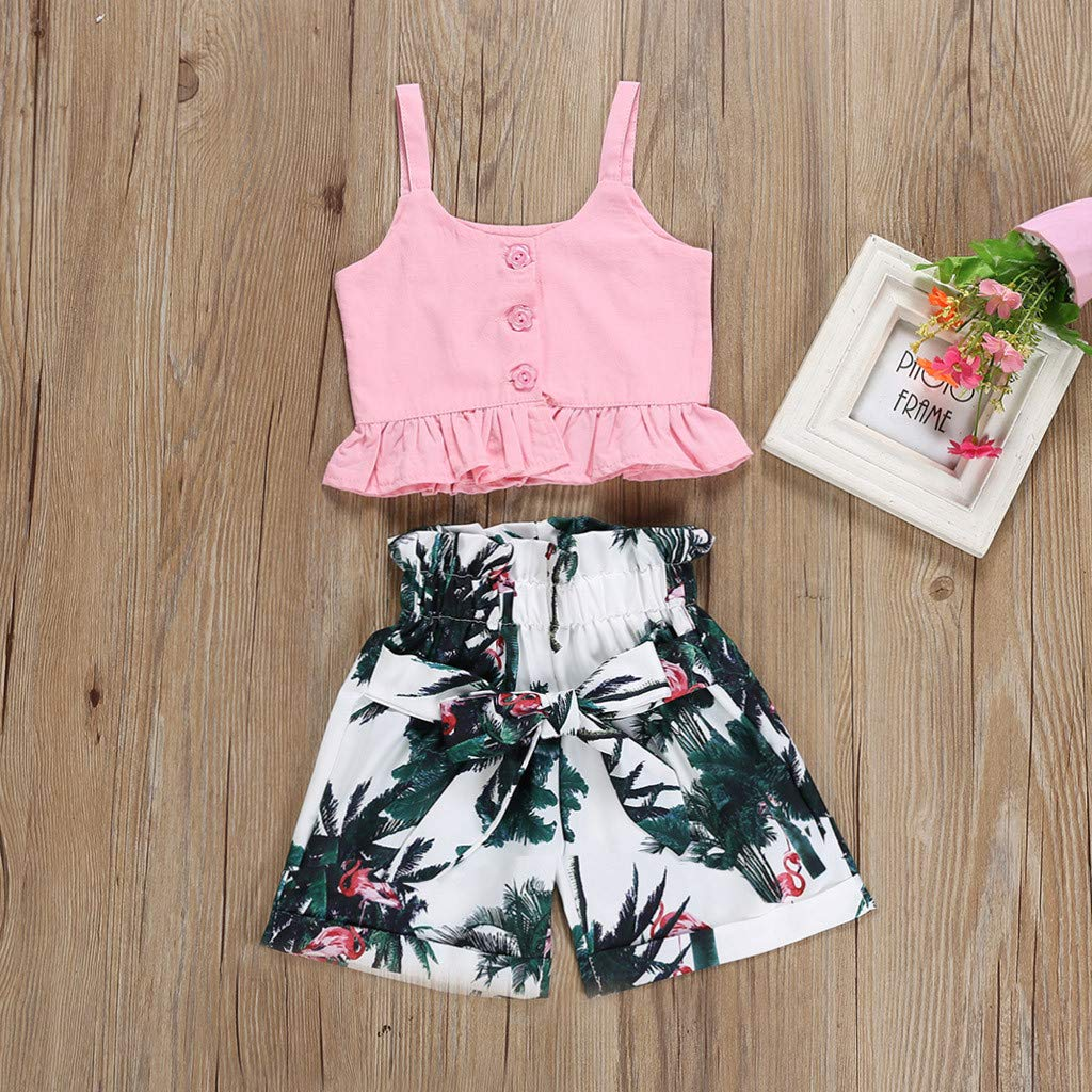 2pcs Summer Toddler Baby Girls Kids Clothing Sets Strap Crop Tank Tops Casual Floral Loose Shorts Pants Outfits