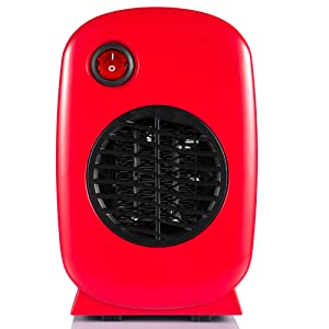 Brightown Personal Ceramic Portable-Mini Heater for Office Desktop Table Home Kitchen Dorm, 250-Watt ETL Listed for Safe Use, Red