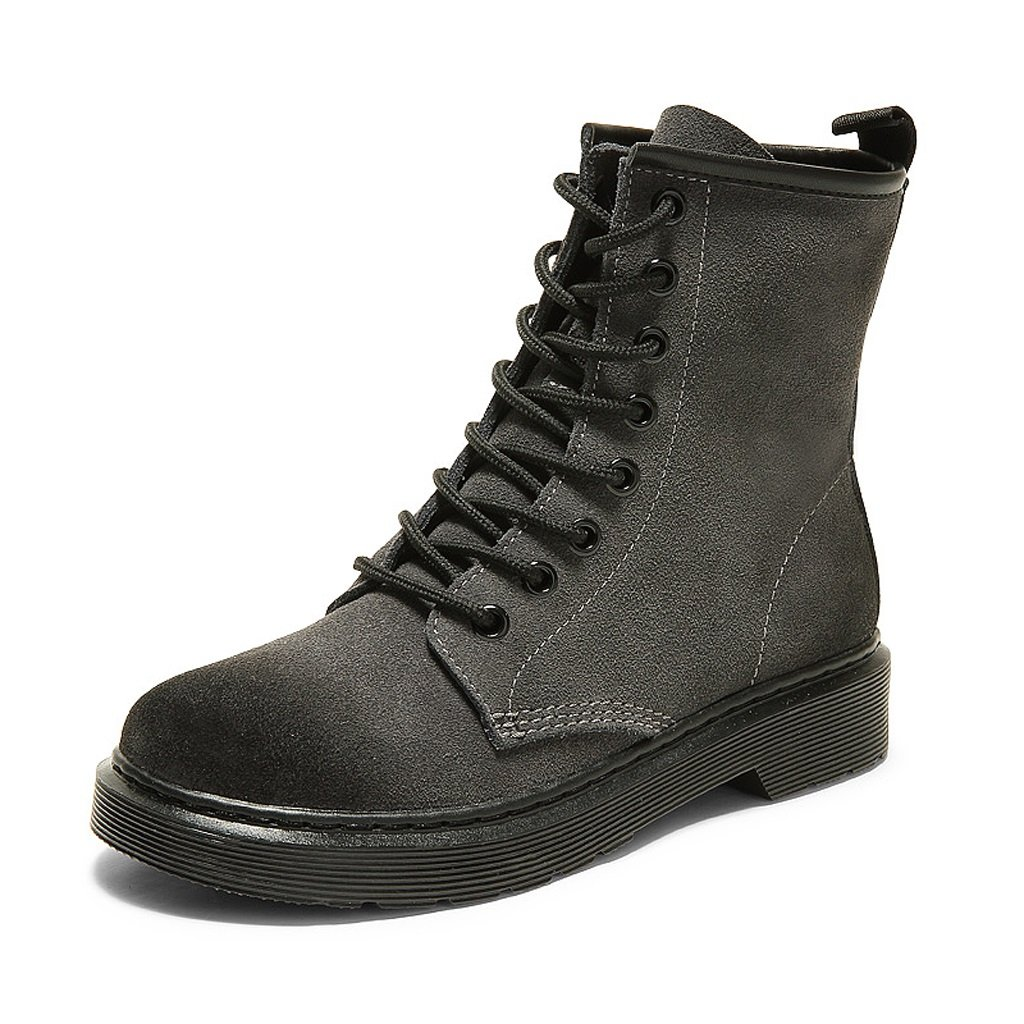Women 's Martin Boots Spring and Autumn Retro Locomotive Flat Short Boots ( Color : Gray , Size : US:5UK:4EUR:35 )