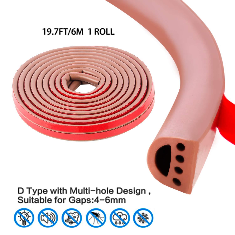 type D,Gris Qishare en caoutchouc de silicone M/ét/éo Strip,Seal Design multi-trous bande pour portes et fen/êtres,auto Professionnel adh/ésif /étanche Soundproof anti-poussi/ère coupe-vent,6M