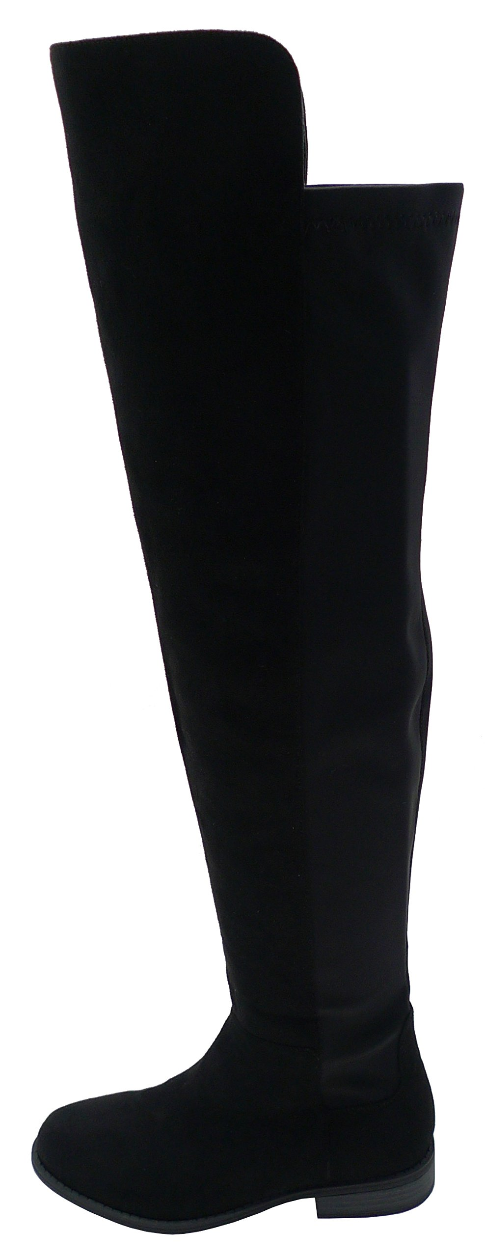 Wild Diva Women's Over The Knee Thigh High Inside Zipper Flat Heel Boot,6 B(M) US,Black Venus Suede