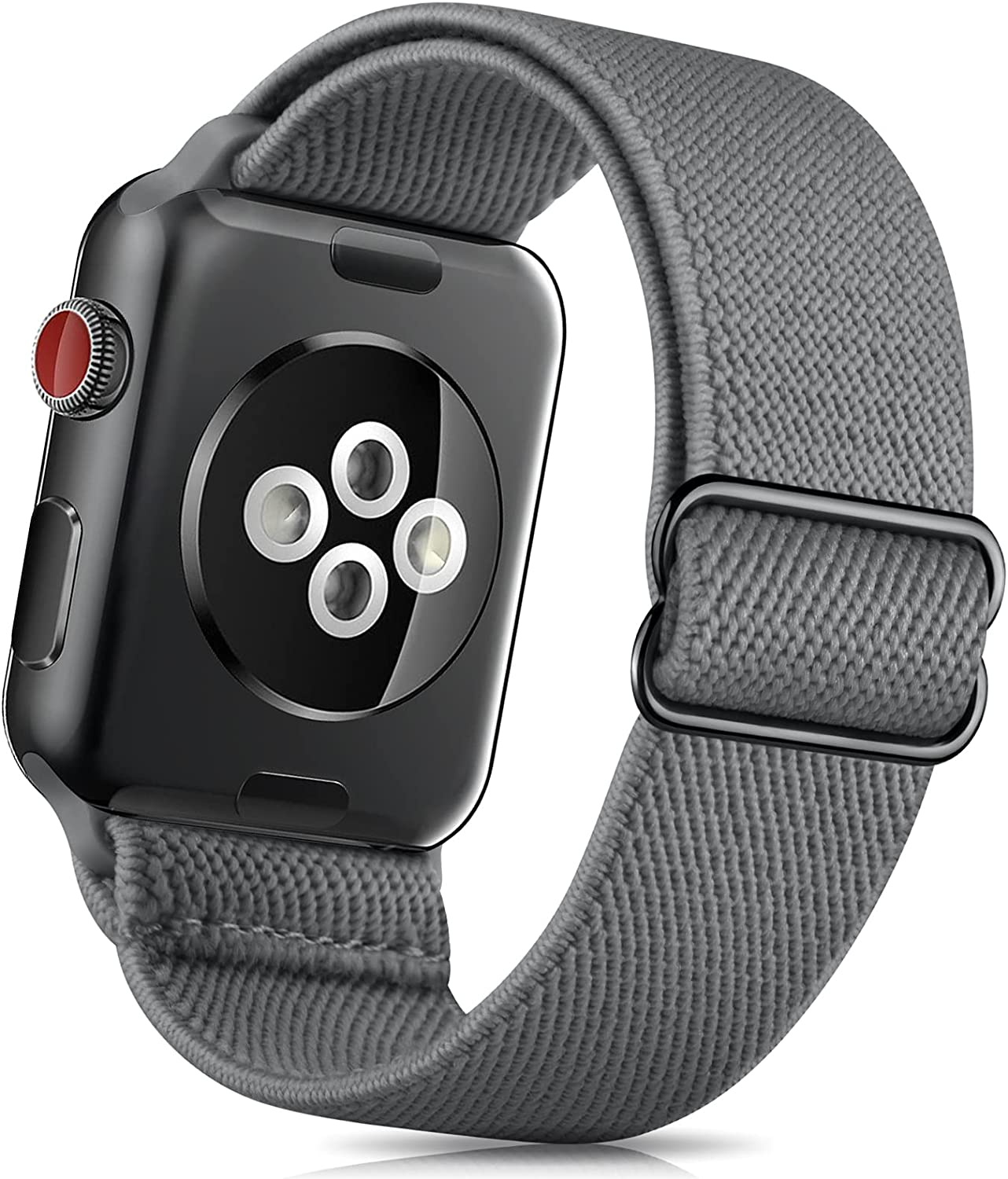 ZALAVER Stretchy Solo Loop Band Compatible with Apple Watch Bands 38mm 40mm 42mm 44mm, Nylon Adjustable Braided Sport Elastics Wristband Compatible with iWatch Series 6/5/4/3/2/1 SE Women Dark Gray
